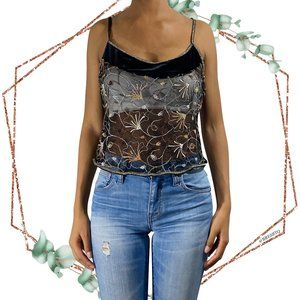Floral embroidered sheer cropped cami tank